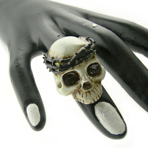Realistic painting thorn crown skull  ring