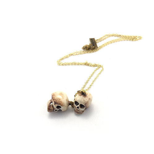 Zodiac pendant Twins skull for Gemini in Realistic color
