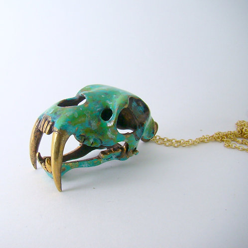 Saber tooth pendant in brass and Patina color