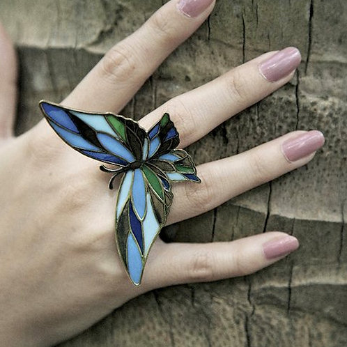 Butterfly blue stand glass ring in brass