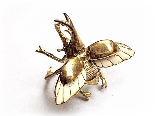 Rhino beetle ring in Brass
