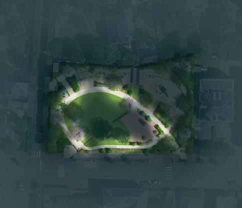 Plan masse nuit Jardin d'enfants, Nogent-le-Rotrou