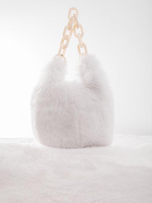 LCI186 SHEARLING  MINI SHOPPER BAG CHAIN HANDLE