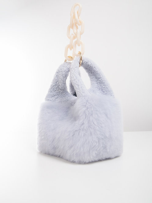 LCI183 SHEARLING  MINI SHOPPER BAG CHAIN HANDLE