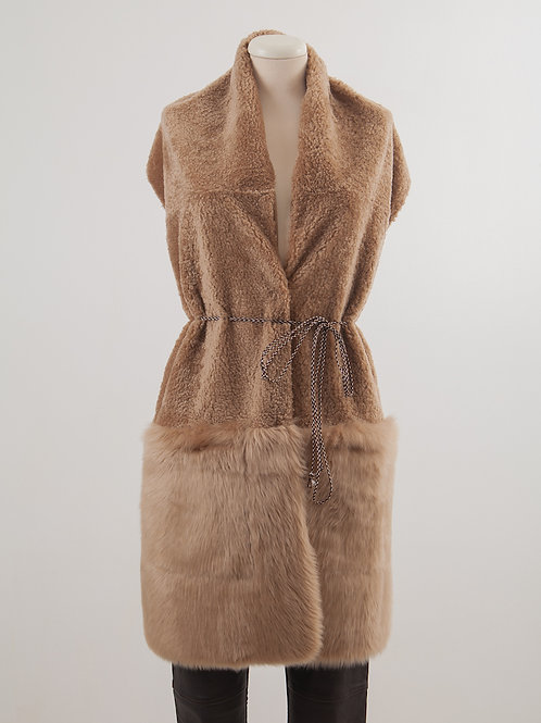 LC2163 SHEARLING COMBY STOLE