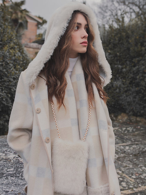 LC2146 NATRUAL RELAXED BELTED ROBE COAT WITH SHEARLING VEST