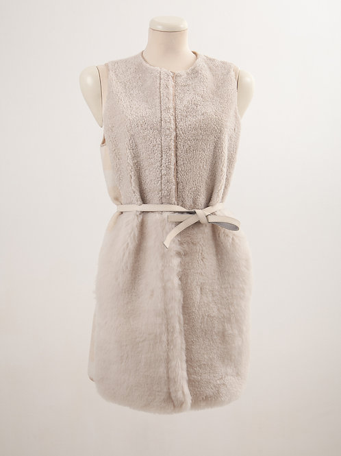 LC2147 NATRUALRELAXED SHEARLING AND BLEND WOOL VEST