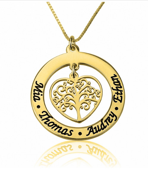Personalised family tree necklace 24k gold plating personalised family tree necklace 24k gold plating personalised jewellery uk steehz jewellery aloadofball Gallery