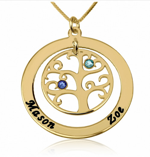 Brand-new Family Tree Necklace with Birthstones - 24k Gold Plating  QP76