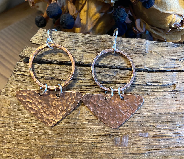 Copper hoop and triangle earrings