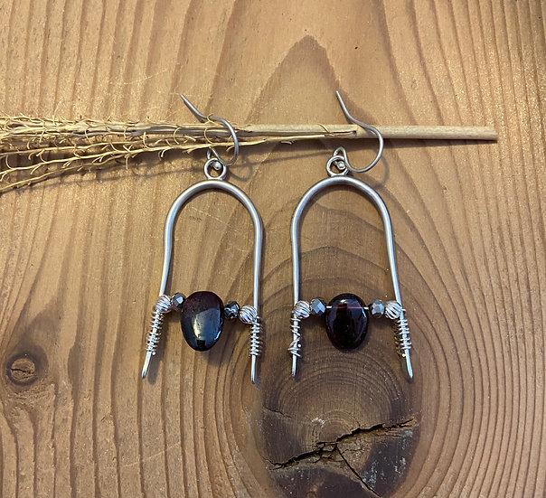 Sterling silver with garnet earrings