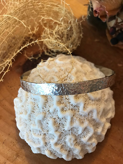 Hammered sterling silver bangle bracelet