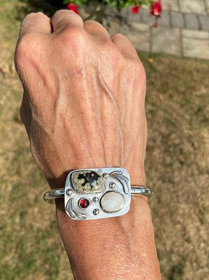 Sterling silver bracelet with ocean jasper, moonstone, and garnet
