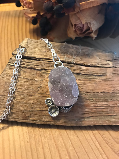 SOLD - Sterling silver amethyst druzy pendant