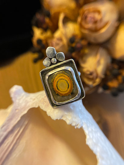 Sterling silver ring with bumblebee jasper