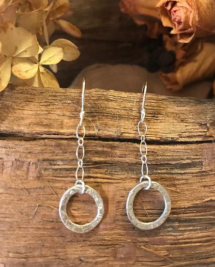 Sterling silver organic hoop earrings