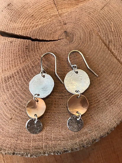 Sterling silver and 14 karat gold filled hammered disc earrings