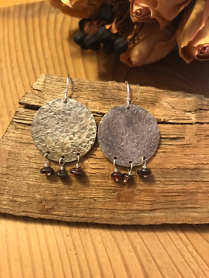 Sterling silver oxidized disc earrings