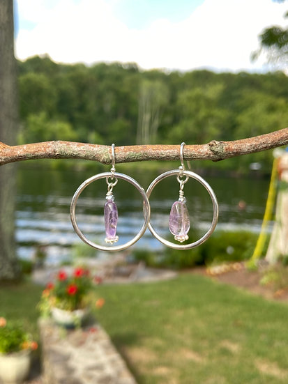 Sterling silver hoops with ametrine