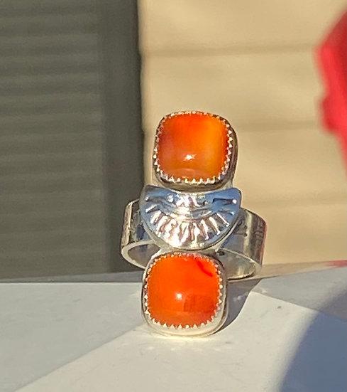 Sterling silver carnelian ring