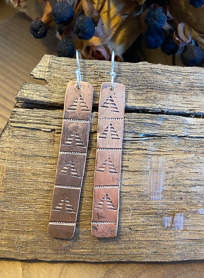 Copper hand punched earrings