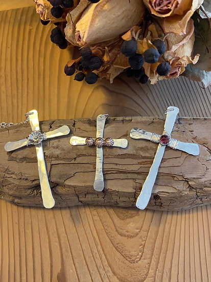 Sterling silver hammered cross necklace