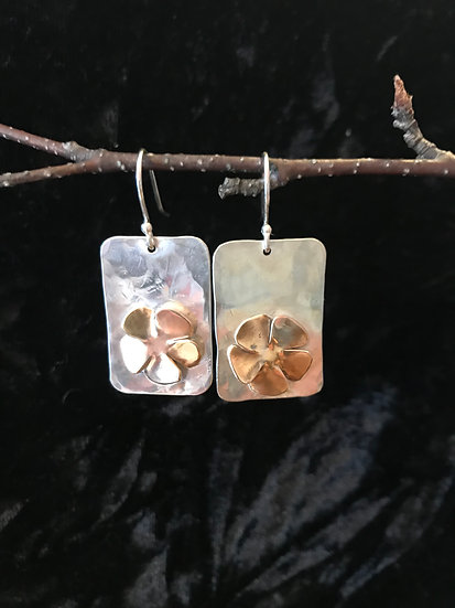Sterling silver and 14 karat gold filled flower earrings