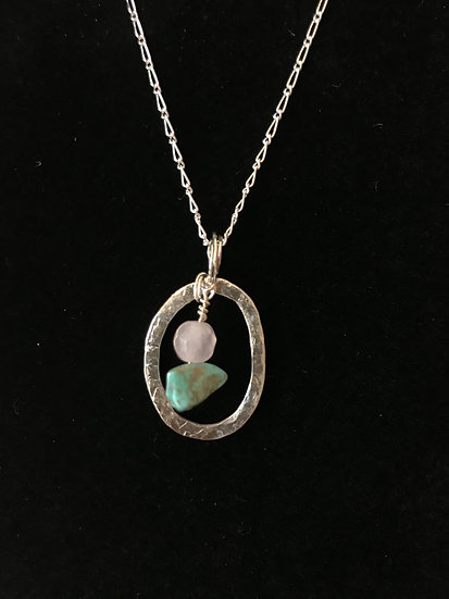 Sterling silver hoop necklace with rose quartz and turquoise