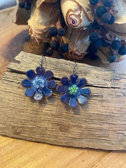 Copper enameled flower earrings