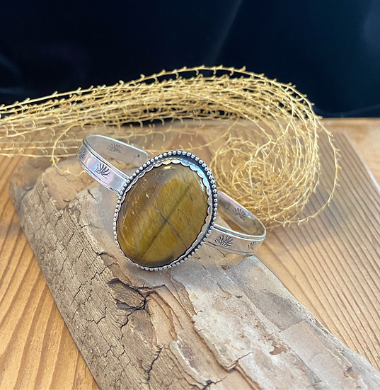 Sterling silver cuff bracelet with tiger eye