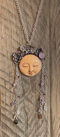 Sterling silver moon goddess pendant