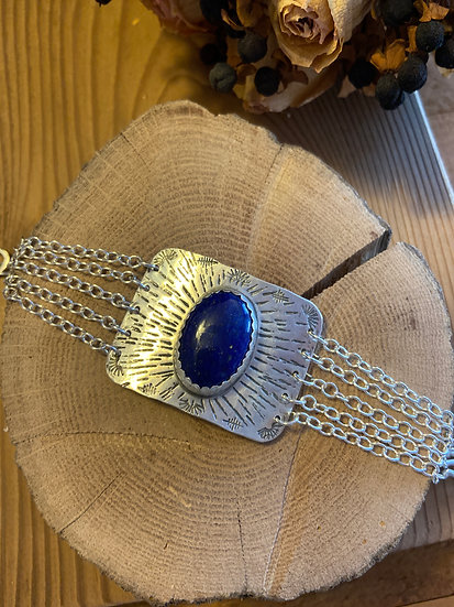 SOLD - Sterling silver bracelet with lapis lazuli