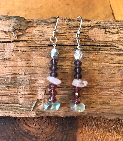 Rose quartz and rainbow fluorite earrings