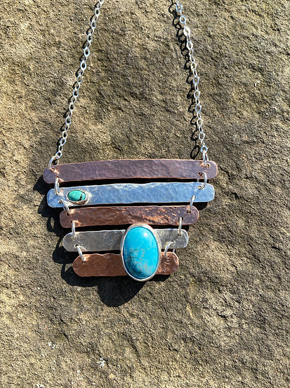 Hammered copper and silver w turquoise pendant