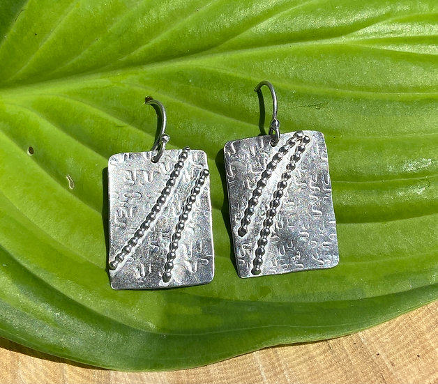 Sterling silver textured square earrings