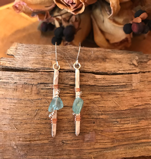 Sterling silver bars with copper wire wrapped apatite