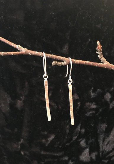 Sterling silver hammered bar earrings