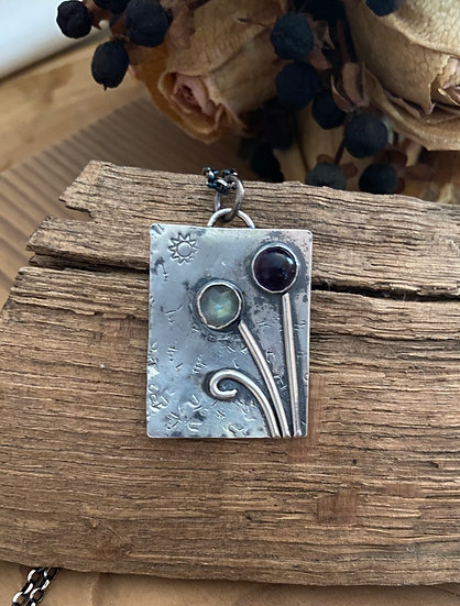 Sterling silver flower box pendant