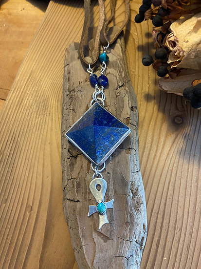 SOLD - Sterling silver with lapis lazuli pyramid pendant