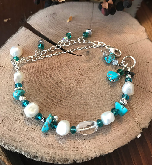 Turquoise and pearl bracelet on sterling silver wire