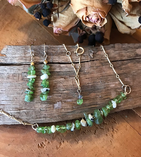 14 Karat gold filled necklace with peridot