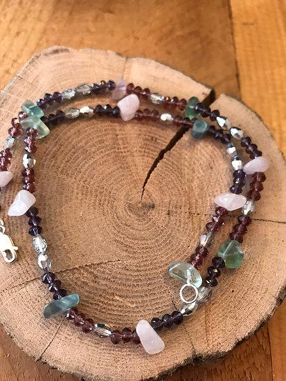 Rose quartz and rainbow fluorite necklace