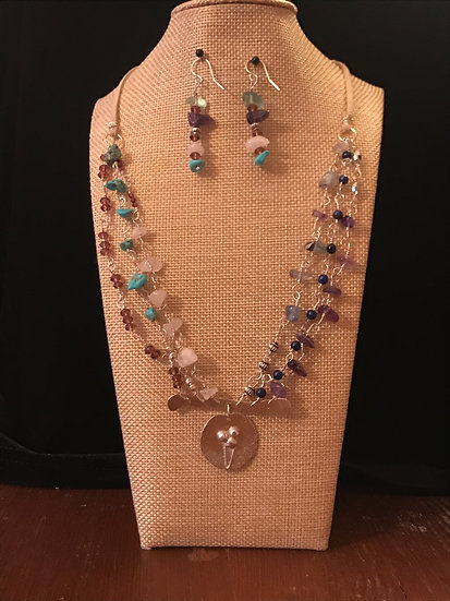 Sterling silver necklace with multi gemstones