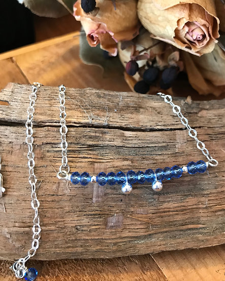 Sterling silver and crystal beaded necklace
