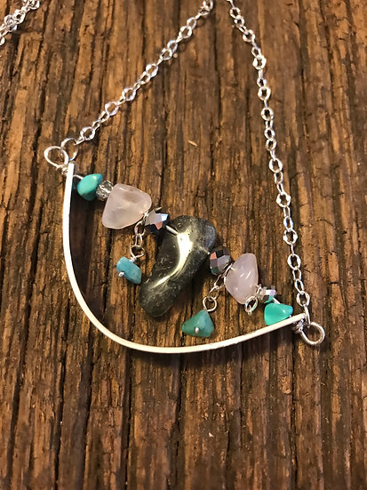 Sterling silver necklace with rutilated quartz