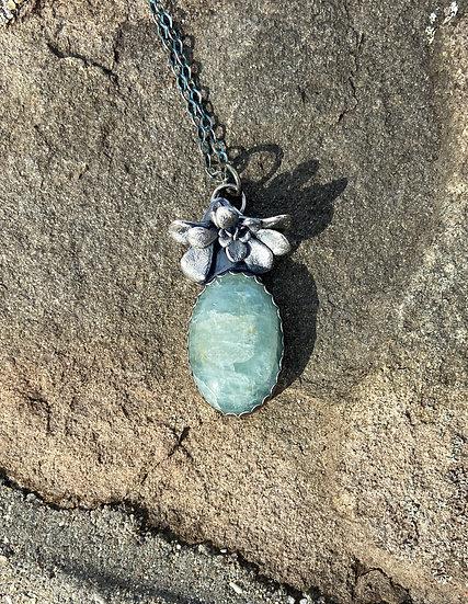 Sterling silver w/ aquamarine pendant
