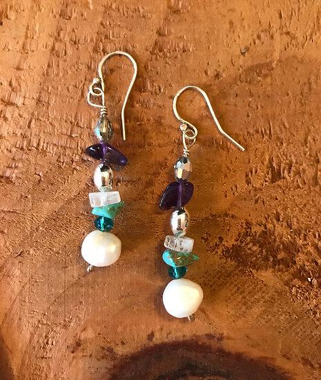 Sterling silver multi gemstone earrings