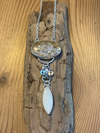 SOLD - Sterling silver pendant with plume agate and rainbow moonstone