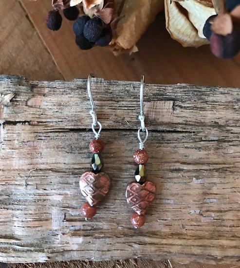 Goldstone and copper heart earrings
