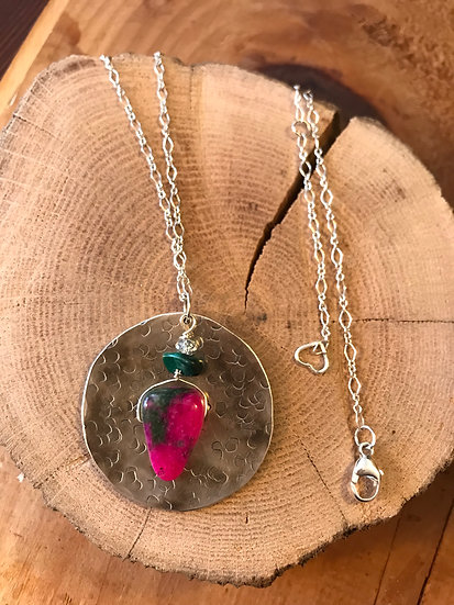 Sterling silver disc necklace with red ruby zoisite
